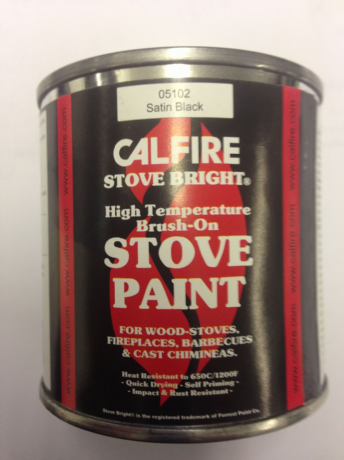 Stove Paint Satin Black Brush on 236ml